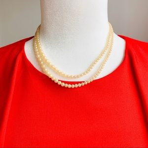 VTG Cream Two Strand Jewel Clasp Necklace